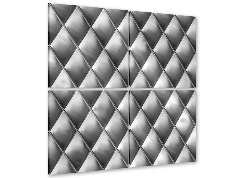 Acrylglasbild 4-teilig 3D-Rauten Silbergrau