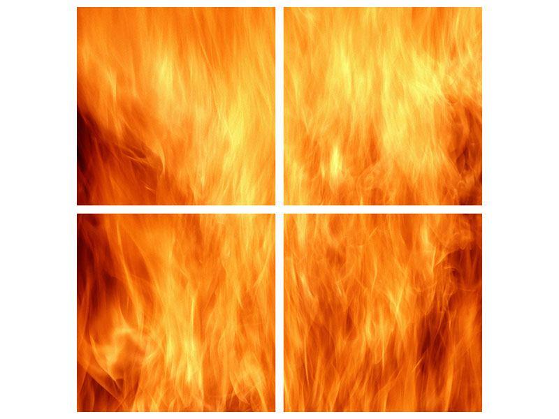 Acrylglasbild 4-teilig Flammen