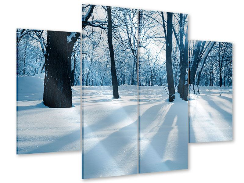 Acrylglasbild 4-teilig Der Wald ohne Spuren im Schnee
