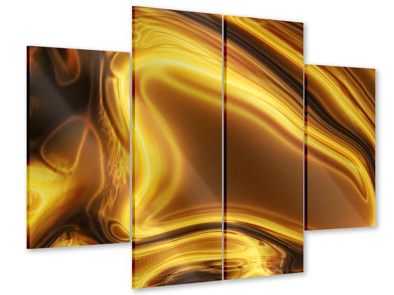 Acrylglasbild 4-teilig Abstrakt Flüssiges Gold
