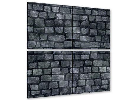 Acrylglasbild 4-teilig Graue Steinmauer