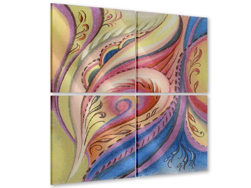 Acrylglasbild 4-teilig Paisley-Malerei