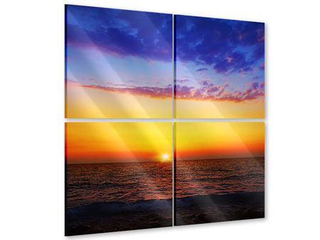 Acrylglasbild 4-teilig Leuchtender Sonnenuntergang