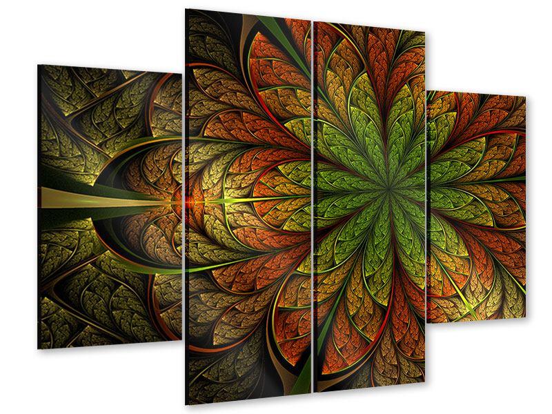 Acrylglasbild 4-teilig Abstraktes Blumenmuster