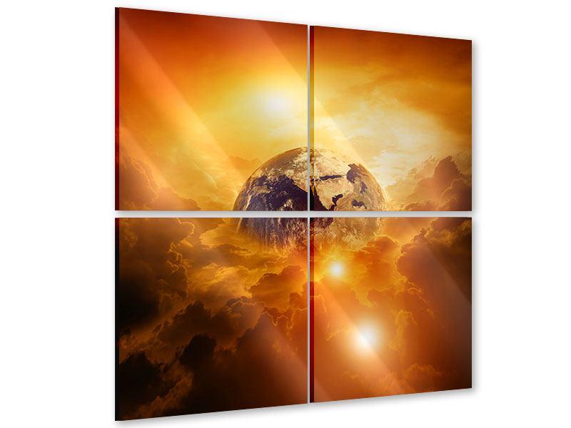 Acrylglasbild 4-teilig Mystischer Planet Erde