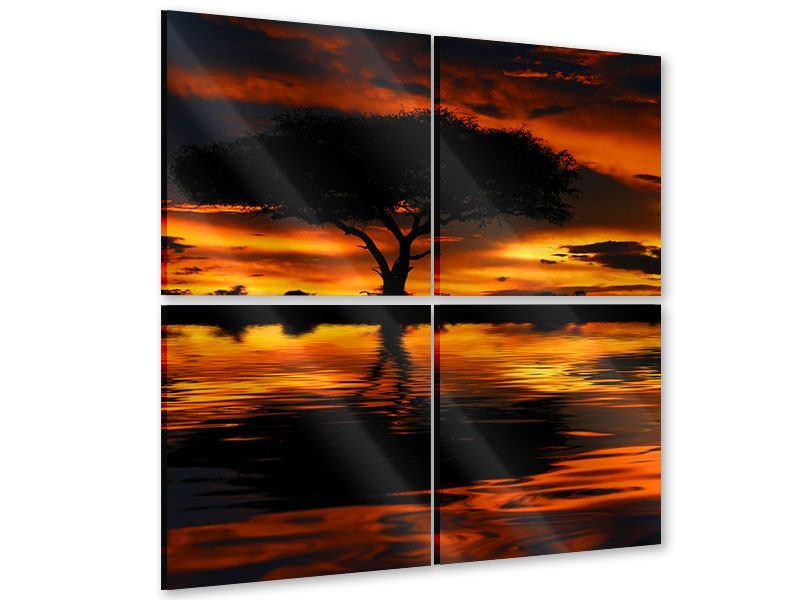 Acrylglasbild 4-teilig Sonnenuntergang in Kenia