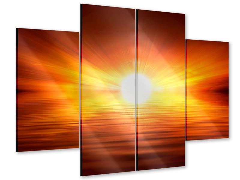 Acrylglasbild 4-teilig Glühender Sonnenuntergang