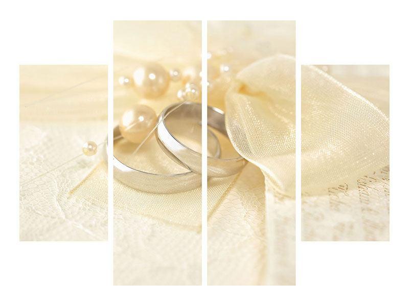 Acrylglasbild 4-teilig Trauringe