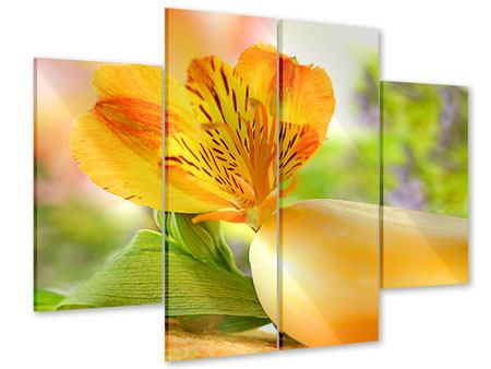 Acrylglasbild 4-teilig Lilien-Frühstück