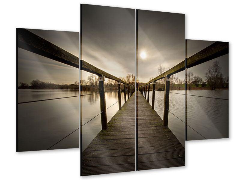 Acrylglasbild 4-teilig Die Holzbrücke