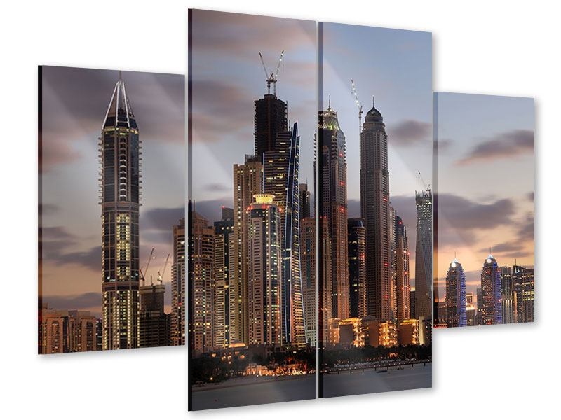 Acrylglasbild 4-teilig Skyline Dubai bei Sonnenuntergang