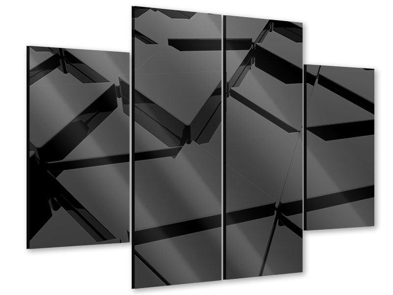 Acrylglasbild 4-teilig 3D-Dreiecksflächen