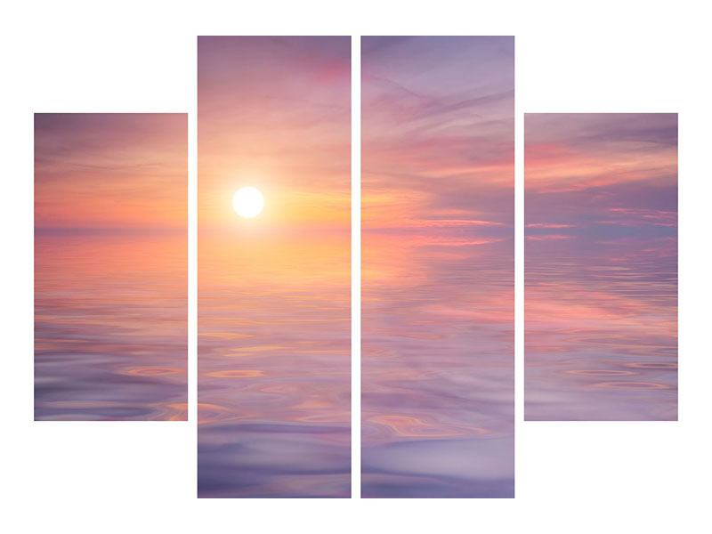 Acrylglasbild 4-teilig Sonnenuntergang auf See