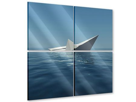 Acrylglasbild 4-teilig Papierschiffchen