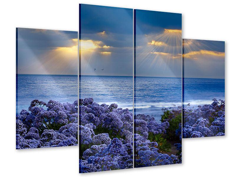 Acrylglasbild 4-teilig Der Lavendel und das Meer