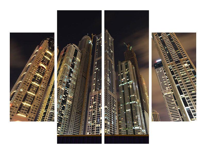 Acrylglasbild 4-teilig Wolkenkratzer Dubai Marina