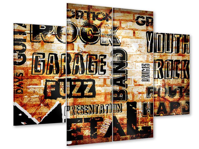 Acrylglasbild 4-teilig Rock im Grungestil