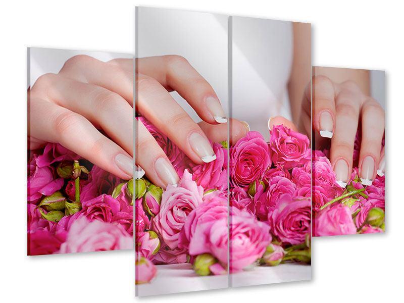 Acrylglasbild 4-teilig Hände auf Rosen gebettet