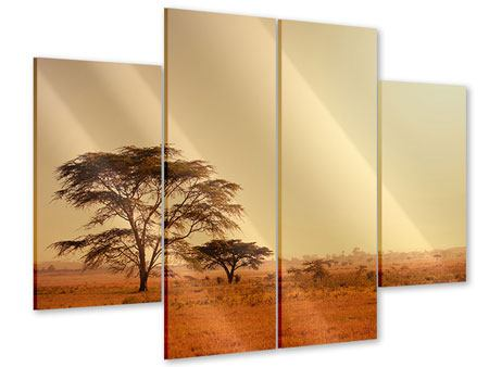 Acrylglasbild 4-teilig Weideland in Kenia