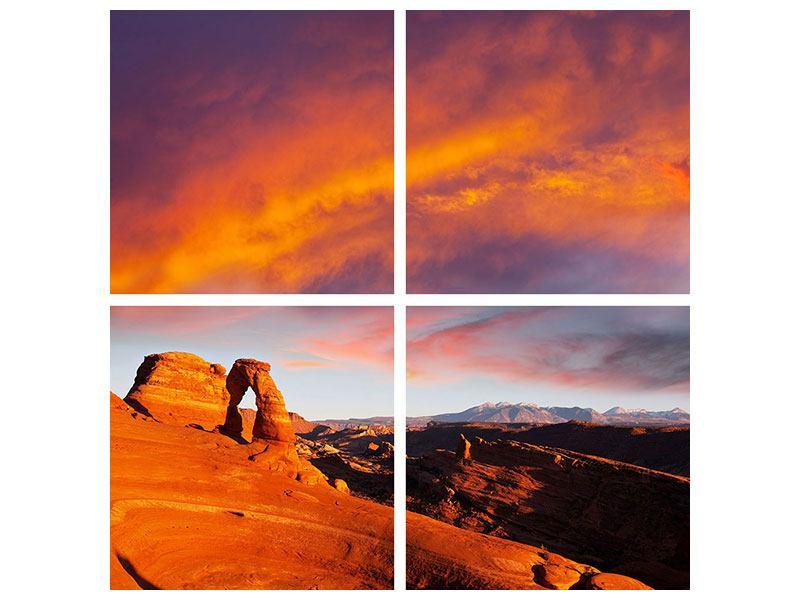 Acrylglasbild 4-teilig Sonnenuntergang im Canon