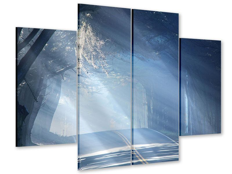Acrylglasbild 4-teilig Lichtdurchflutete Baumallee