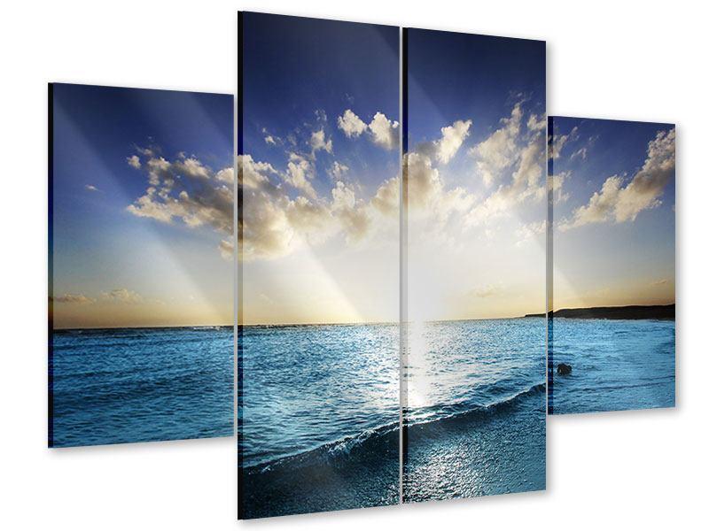 Acrylglasbild 4-teilig Das Meer im Sonnenaufgang