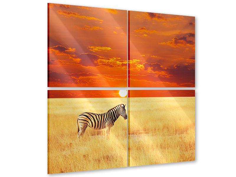 Acrylglasbild 4-teilig Zebra im Seregenti-Nationalpark