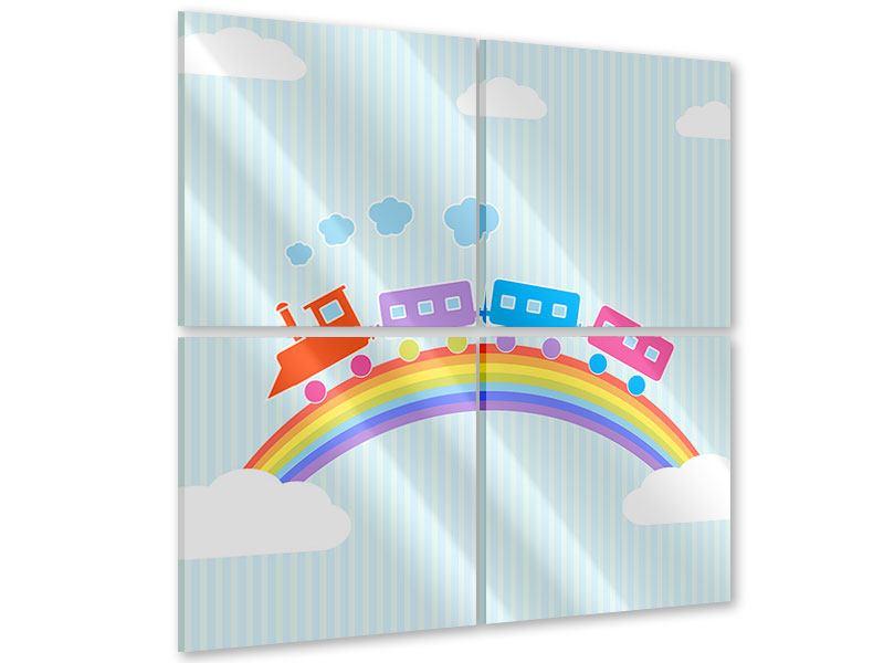 Acrylglasbild 4-teilig Der Regenbogenzug