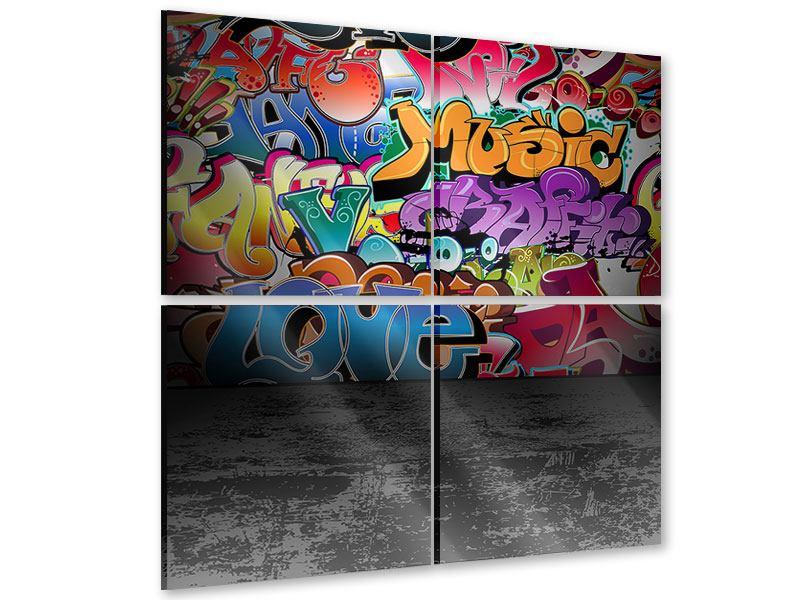 Acrylglasbild 4-teilig Graffiti-Writing