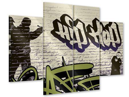 Acrylglasbild 4-teilig Graffiti Hip Hop