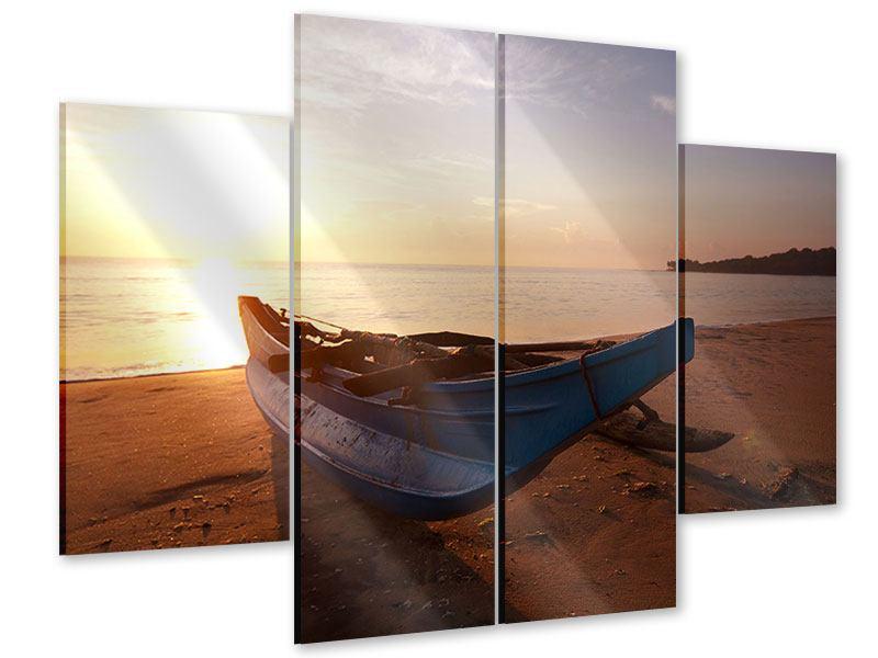 Acrylglasbild 4-teilig Das gestrandete Boot