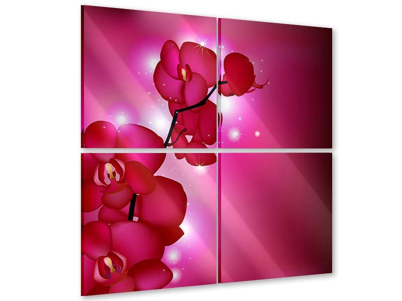 Acrylglasbild 4-teilig Orchideenmärchen
