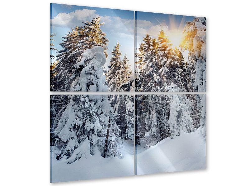 Acrylglasbild 4-teilig Tannen im Schnee