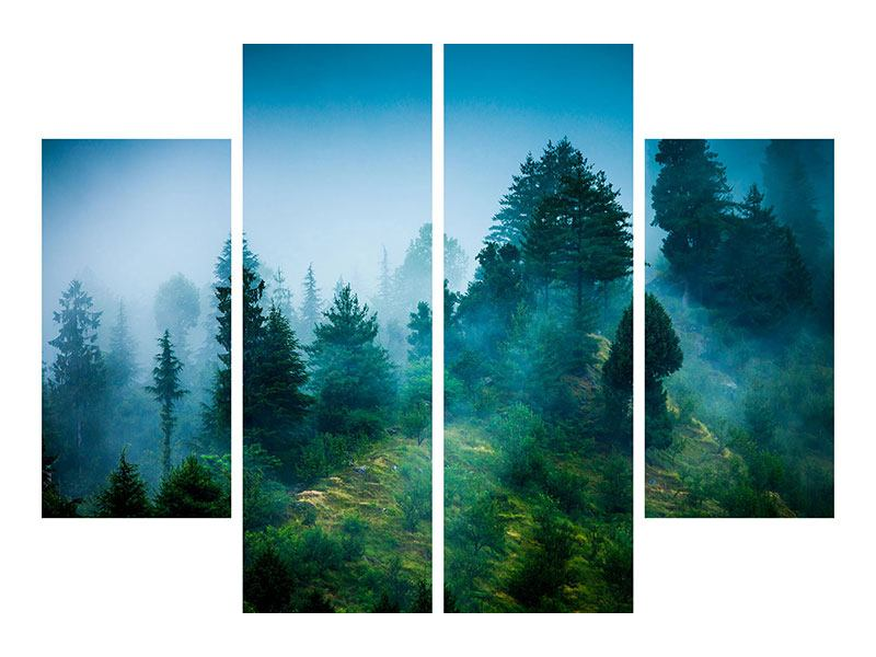 Acrylglasbild 4-teilig Geheimnisvoller Wald