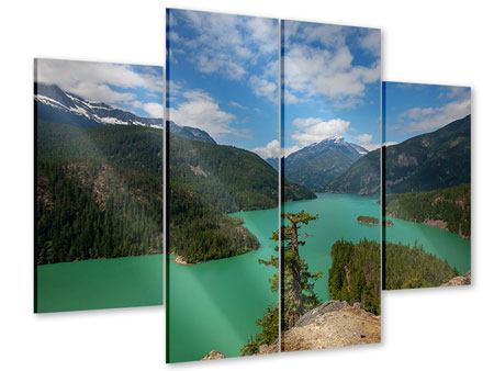 Acrylglasbild 4-teilig Diablo Bergsee