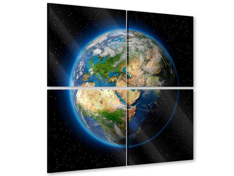 Acrylglasbild 4-teilig Die Erde als Planet