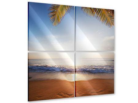Acrylglasbild 4-teilig Figuren im Sand