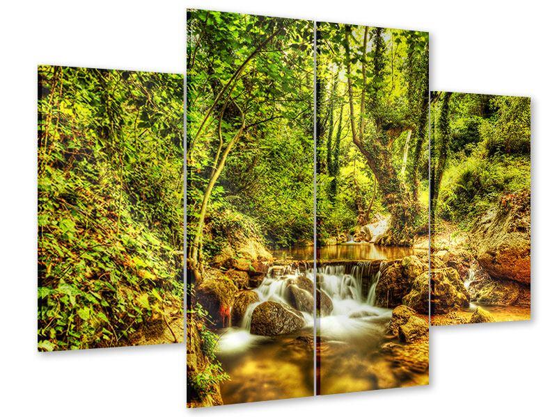 Acrylglasbild 4-teilig Wasserfall im Wald