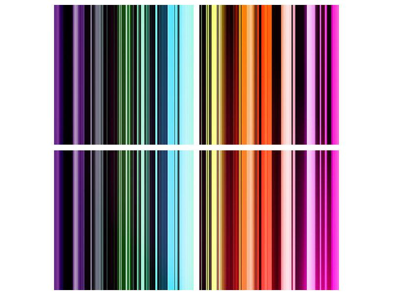 Acrylglasbild 4-teilig Bunte Streifen