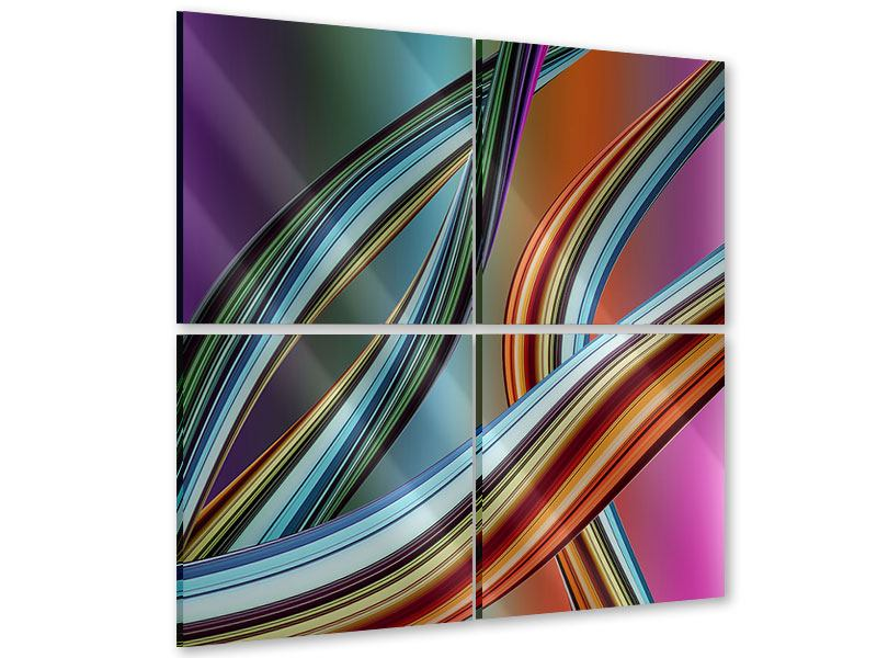 Acrylglasbild 4-teilig Wellengleich
