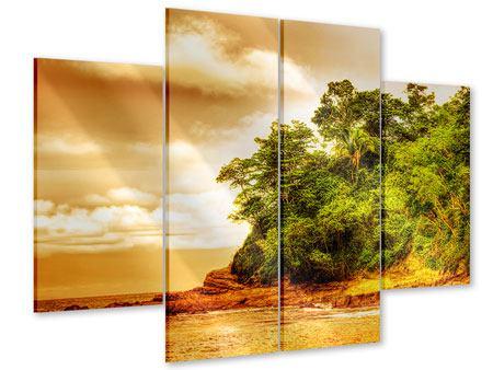 Acrylglasbild 4-teilig Sonnenuntergang am Ende des Waldes