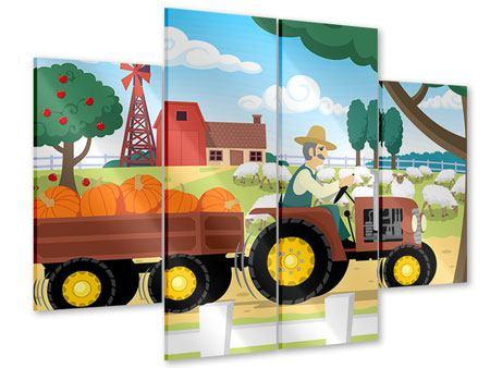Acrylglasbild 4-teilig Bauernhof