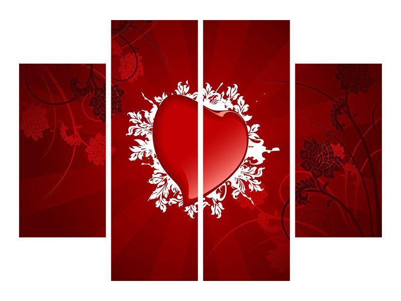 Acrylglasbild 4-teilig Flying Heart