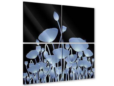 Acrylglasbild 4-teilig Futurische Blumen