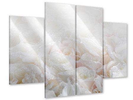 Acrylglasbild 4-teilig Weisse Rosen im Morgentau