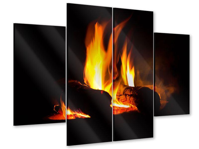 Acrylglasbild 4-teilig Der Kamin