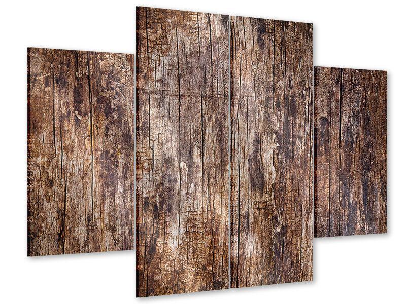 Acrylglasbild 4-teilig Retro-Holz