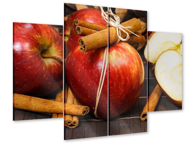 Acrylglasbild 4-teilig Äpfel