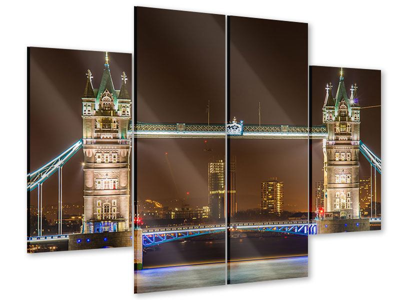 Acrylglasbild 4-teilig Tower Bridge bei Nacht