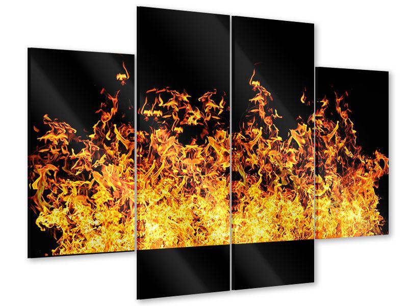 Acrylglasbild 4-teilig Moderne Feuerwand